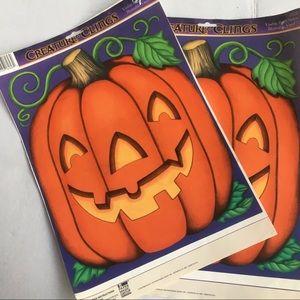 Vintage JOL Halloween  pumpkin window clings
